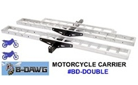 B-Dawg Two Motorcycle Carrier Racks for hitch receiver mounting, lightweight aluminum racks BD-Double
