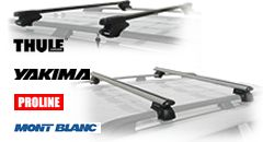 Roof Rack Crossbars for cars with raised roof rack siderails from Thule, Yakima, Mont Blanc and Proline.