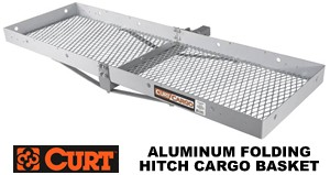 Curt 18100 Folding Aluminum hitch cargo carrier basket that folds up behind your car when not in use for 2 inch receivers