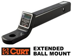 "Curt D-26 Extended length trailer ball mount is 12-1/4"" from hitch pin hole to ball hole"