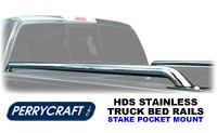Perrycraft HDS Tubular Truck Side Bed Rails in stainless steel mirror finish with no drill stake pocket mounting