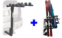Thule 9033 Tram hitch ski rack and Parkway 4 bike hitch rack package