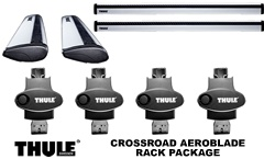 Thule 450R Rapid Crossroad AeroBlade Roof Rack Package, foot pack, aero blade load bars and locks