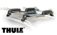 Thule 5401 SnowCat 6 Pair ski and 4 snowboard rack carrier that attaches to vehicles with factory roof rack side rails.