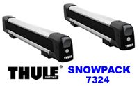 Thule 7324 snow pack 4 pair ski rack and snowboard carrier for roof rack attachment