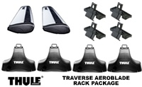 Thule 480R Rapid Aeroblade Traverse complete roof rack package includes towers, quiet aero blade load bars and fit kit for cars with bare roofs.
