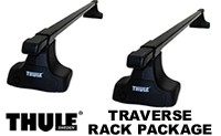 Thule 480 Traverse complete roof rack package includes set of 4 Traverse towers, pair of load bars and traverse fit kit for cars with a bare roof and no rain gutters