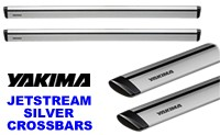 "Yakima Jetstream Silver Crossbars for Roof Racks: aerodynamic rooftop carrier load bars in 50"", 60"" and 70"" lengths."